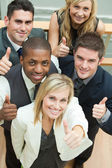 High view of happy business team with thumbs up — Stock Photo
