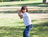 Portrait of adorable child playing baseball — Stok fotoğraf
