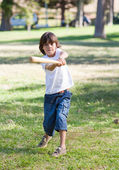 Lively little boy playing baseball — Stock Photo