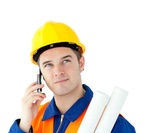 Ambitious worker talking on phone holding plan — Stock Photo