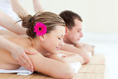Relaxed couple having a back massage — Foto Stock