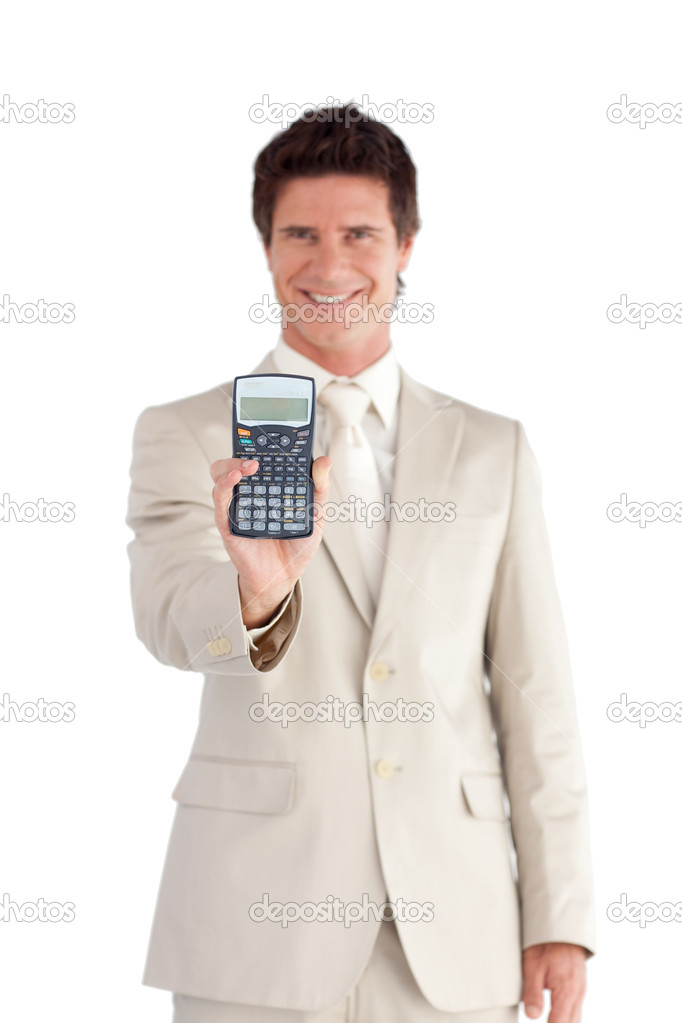 Attractive Businessman Holding a calculator in his hands isolated on a white background — Stock Photo #10822769