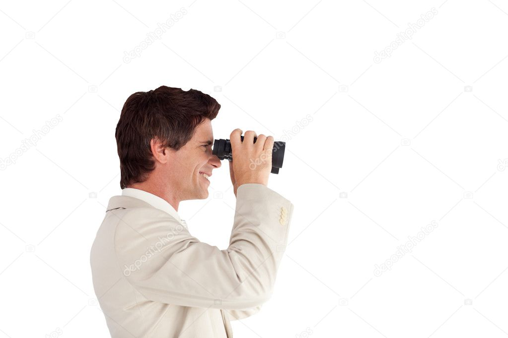 Portrait of a self-assured businessman with binoculars isolated against white background — Stock Photo #10822934
