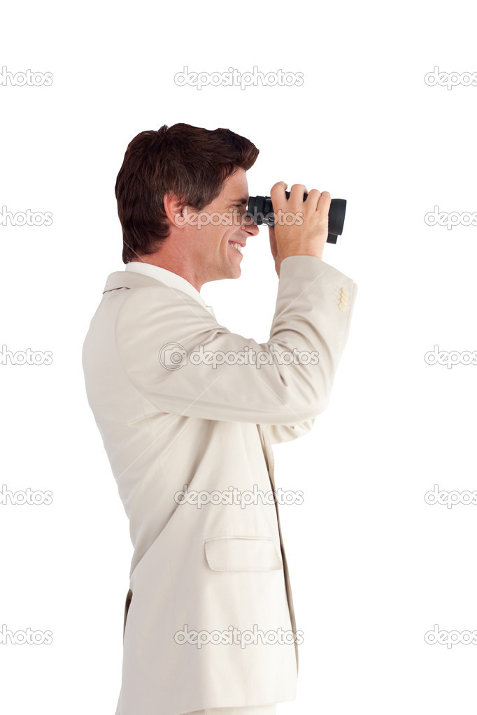 Portrait of a happy businessman with binoculars isolated against white background — Stock Photo #10822937