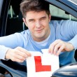 Stock Photo: Happy young male driver tearing up his L sign