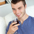 Animated young man drinking wine sitting on the sofa — Stock Photo #10830538
