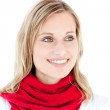 Portrait of a captivating woman with a red scarf — Stock Photo #10830645