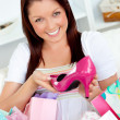 Stockfoto: Delighted womwith shopping bags
