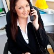 Stock Photo: Ambitious businesswomtalking on phone using her computer