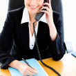 Self-assured businesswoman talking on phone and writing in her o — Stock Photo #10833910