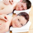 Delighted caucasicouple receiving back massage — Stock Photo #10834145