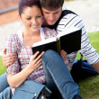 Serious couple of students reading a book sitting on grass — Stock Photo