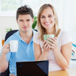 Couple having tea break — Stock Photo