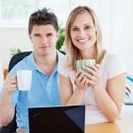 Couple having tea break — Stock Photo