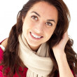 Pretty hispanic woman wearing a scarf — Stock Photo