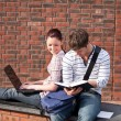 Two students working together with book and laptop outside — Foto de Stock