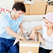 Positive young couple unpacking boxes with glasses — Stock Photo