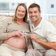 Cheerful couple of future parents holding an echography — Stock Photo