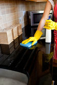 Young caucasian woman cleaning the oven — Stock Photo
