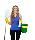 Charming young woman holding a mop — Stock Photo
