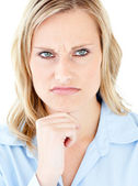 Portrait of a thougthful depressed woman against white backgroun — Stock Photo