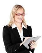 集中の実業家をクリップボードに書き込む — ストック写真