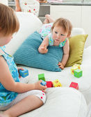 Adorable sweet siblings playing together — Stock Photo