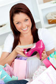 Delighted woman with shopping bags — Stock Photo