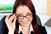 Assertive businesswoman wearing glasses — Stock Photo