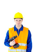 Assertive worker holding a cordless screwdriver — Stock Photo