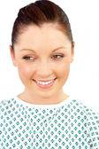 カメラに笑顔メリー女性患者の肖像画 — ストック写真