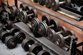 Collection of barbells — Stock Photo