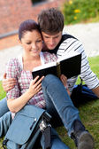 öğrenciler çimlere oturup kitap okumak ciddi bir kaç — Stok fotoğraf