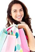 Brght donna shopper in azienda — Foto Stock