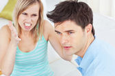 Young man ignoring his girlfriend getting worked up — Stock Photo
