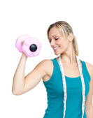 Woman working out with dumbells — Stock Photo