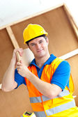 Self-assured young male worker with a yellow helmet carrying a w — Stock Photo