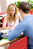 Cute couple of students working together — Stock Photo