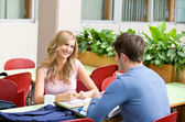 Delighted couple of students working together in the cafeteria — Stock Photo