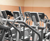 Close-up of treadmills in a fitness centre — Stock Photo