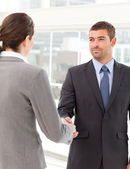 Businessman shaking hands with a businsswoman — Stock Photo