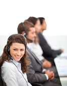 Pretty representative with working in a call center — Stock Photo