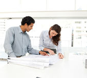Two business looking at a new project — Stock Photo