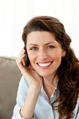 Portrait of a pretty businesswoman talking on the phone — Stock Photo
