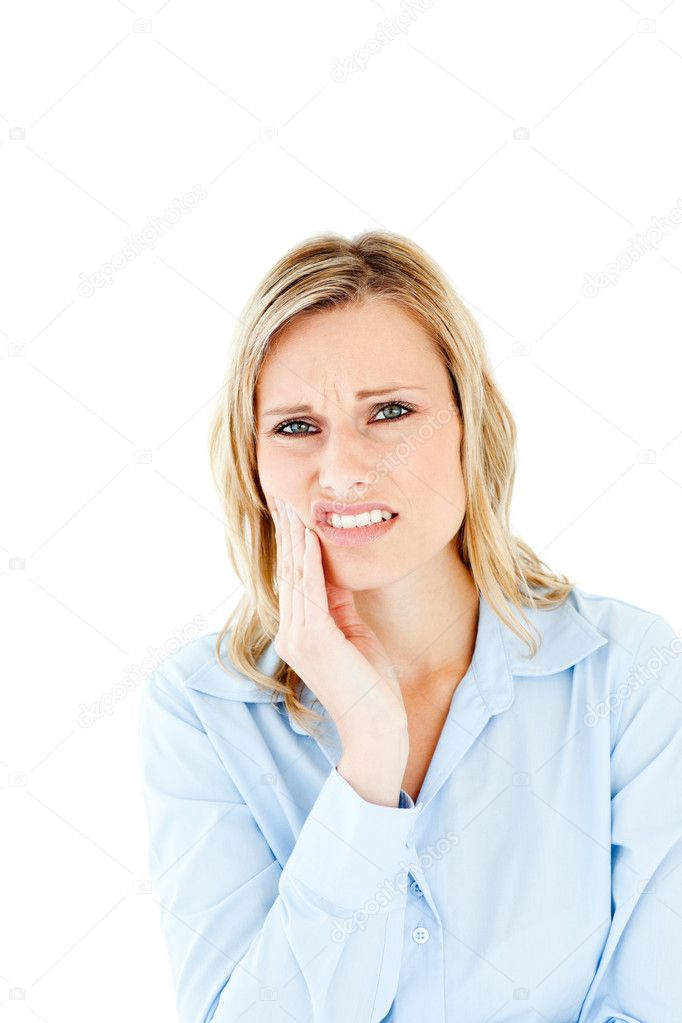 Dejected businesswoman with toothache against white background  Stock Photo #10831363