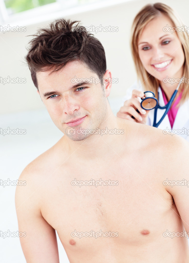 Cute female doctor feeling the breathing of a patient using her stethoscope in her office — Foto Stock #10837812