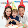Little boy celebrating his birthday at home — Stock Photo #10840298