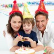 Little boy celebrating his birthday at home — Stock Photo