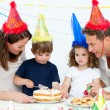 Lovely family celebrating a birthday together — Stock Photo