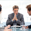 Serious manager talking to his team during a meeting — Stock Photo